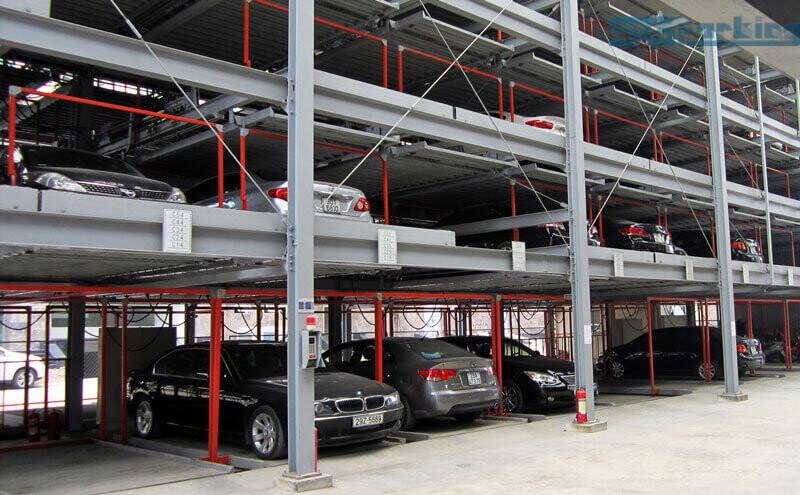 Bãi đỗ xe tự động xếp hình SGparking minh họa