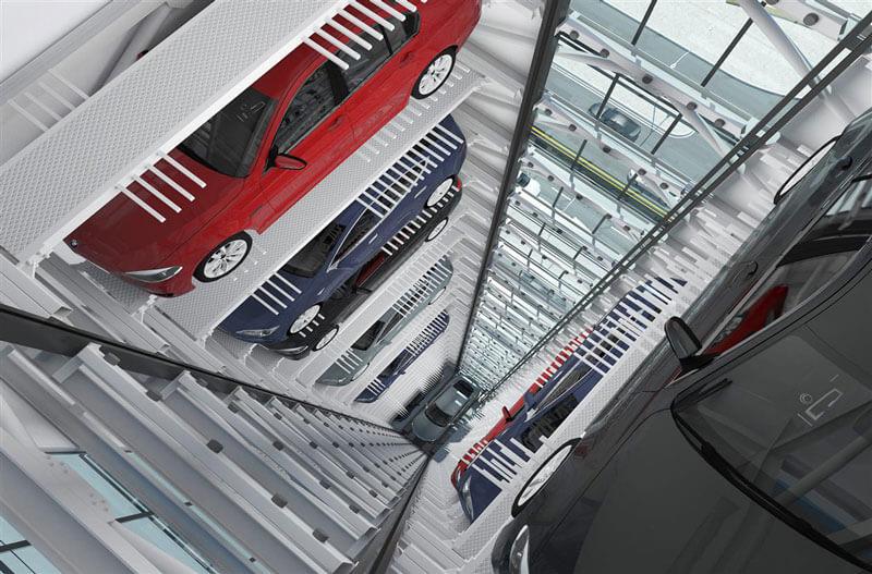 Hệ thống đỗ xe thông minh dạng tháp từ trên xuống