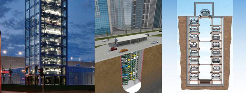 bãi đỗ xe tự động dạng tháp liền với nhà